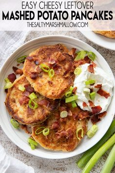 Mashed Potato Pancakes are the best way to use up leftover mashed potatoes!  These potato cakes are easy, creamy, cheesy and make a great dinner or breakfast! Cheese Recipes, Potato Recipes, Vegetable Recipes, Cooking Recipes, Leftover Mashed Potato Pancakes, Classic Potato Salad, Cheesy Corn, Garlic Breadsticks, Green Beans With Bacon