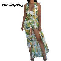 BiLaRyThy Women's Summer Bohemian Long Chiffon Dress Sexy Halter Neck Backless Floral Printed Maxi Dresses Plus Size 3xl