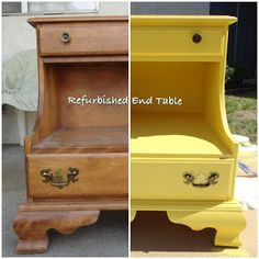 #Clunkycrafts.com  #Refurbished #furniture tutorial  A plain wood end table made fresh and new!