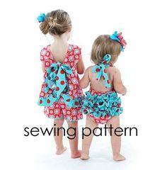 Ruffled Pinafore Pattern - Easy Girls Sewing Tutorial, PDF, Baby to Toddler