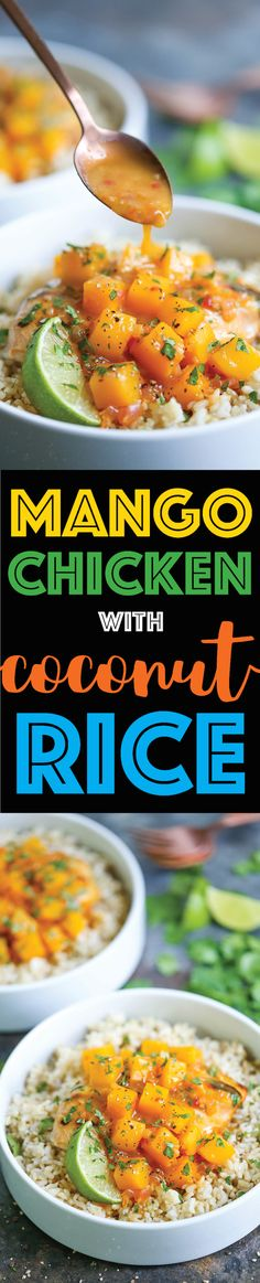Mango Chicken with Coconut Rice - With a mango sauce that is perfectly sweet and tangy on a bed of homemade coconut rice. SO EASY and made in less than 30!
