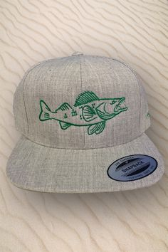 0cda0104df8 Snapback Walleye fishing hat. Great for keeping a fisherman in the shade.  Embroidered by