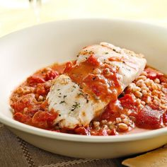 Cod with Tomato Cream Sauce for Two Recipe ~ This silky tomato sauce with a touch of cream makes mild-flavored cod sing. Serve with: Farro or rice and a salad of mixed greens. Cod Recipes, Seafood Recipes, Cooking Recipes, Easy Recipes, Diet Recipes, Tilapia Recipes, Diabetes Recipes, Batch Cooking, Pizza Recipes