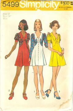 Short Dress with Skirt Stitched to Shaped Bodice Simplicity 5499 B34 1970s Uncut picclick.com