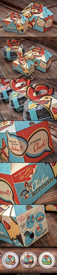 "Since this was being pinned piecemeal I created this expanded pin for ""Lowes Foods grocery stores who enlisted Wildfire to help brand their new ""store-within-a-store"" named the Chicken Kitchen in the deli section. Cute clever #identity #packaging #branding curated by Packaging Diva PD"