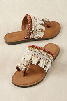 926ade66093d45 Summer s here and so are fun sandals like these handcrafted leather thongs  embellished with bugle