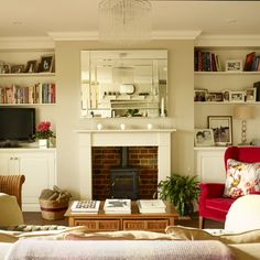 Check out these small living room ideas and design schemes for tiny spaces, from the Ideal Home archives. Take a look at the best small living room ideas Living Room Photos, New Living Room, Home And Living, Living Room Decor, Dining Room, Alcove Storage, Alcove Shelving, Storage Shelves, 25 Beautiful Homes