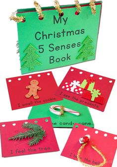 Kerst - knutselen met kinderen -This Christmas five senses book is a great way to learn about the five senses with kids during the Christmas season- Lifeovercs Preschool Christmas Crafts, Holiday Crafts For Kids, Holiday Activities, Xmas Crafts, Christmas Themes, Sensory Activities, Christmas Activities For Preschoolers, Sensory Book, Fish Crafts