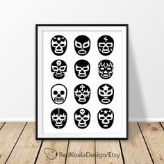 Lucha Libre masks, Luchador mask print, Digital download, Mexican wrestling, Mexico wall art, Gift for him, Black and white,Printable poster by RedKoalaDesign on Etsy