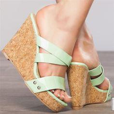Wedges woman green elasthomère heels 11 cm size 38, on line shop Modatoi. buy shoes on website modatoi.co.uk.