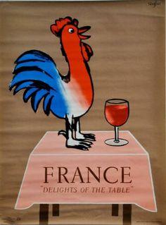 """SAVIGNAC Raymond  FRANCE """"Delights of the table"""". 1966 Imprimerie La Vasselais, Paris - 77,5x57,5cm"""