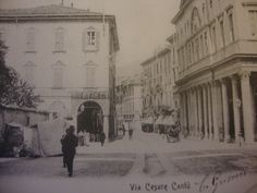 Como, Via Cesare Cantù on the right the Place of the Gymnasium 20's