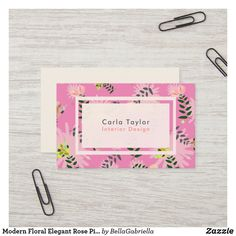 Shop Modern Floral Elegant Rose Pink Business Card created by BellaGabriella. Elegant Business Cards, Business Card Size, Professional Business Cards, Business Card Design, Flower Patterns, Pink Roses, Wedding Planner, Things To Come, Floral
