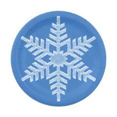 Icy White Frozen Snowflake Elegant Gray Christmas Paper Plate ...