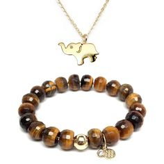 """TFS Jewelry Set 10mm Brown Agate London 7"""" Stretch Bracelet & 20mm Elephant Cubic Zirconia Charm 16"""" 14k Over Brass Necklace -- Awesome products selected by Anna Churchill"""