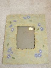 "Home Interiors Purple Flowers Resin 7.25"" x 9"" Picture Frame"