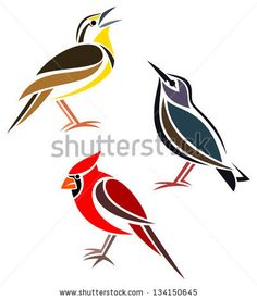 Stylized birds - Western Meadowlark, Common Starling and Northern Cardinal - stock vector