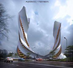 ArtStation - AtsukoTower, Hugh Marentes Architecture Paramétrique, Futuristic Architecture, Beautiful Architecture, Conceptual Design Architecture, Chinese Architecture, Classical Architecture, Unusual Buildings, Amazing Buildings, Modern Buildings