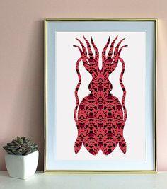 Squid A3 art print Cat Wall, A3, Art Prints, Wall Art, Cool Stuff, Unique Jewelry, Handmade Gifts, Etsy, Vintage