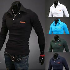 New Fashion Mens Slim Fit Long Sleeve Polo Shirt T-Shirt Tee Casual Shirts