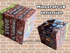 MINECRAFT 3D INVITATION. Printable Minecraft invitation cube. MINECRAFT INVITATION BIRTHDAY MINECRAFT BIRTHDAY CARD Minecraft printable invitation partyprintable.we... Minecraft printable decoration, Minecraft birthday party decoration, Minecraft gifts, Minecraft invitation, Minecraft, Minecraft creeper, Creeper decoration, Minecraft digital file, Minecraft free decoration, minecraft printables, minecraft food, minecraft stickers, creeper printables