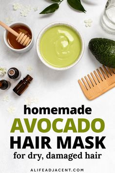 This deep conditioning, homemade avocado hair mask is a lifesaver for dry, damaged hair! If you have curly hair or tresses that need intense repair and moisture, this hair mask is the recipe for you. Perfect for a natural hair care routine, this DIY conditioner contains fresh avocado for its benefits and healthy fats, plus honey and olive oil for a rich, moisturizing treatment. Get soft and silky hair fast! Learn how to make an easy avocado hair mask for growth and dry hair. ALifeAdjacent.com Hair Mask For Damaged Hair, Hair Masks, Dry Hair, Diy Haircare, Natural Haircare, Hair Growth Mask Diy, Olive Oil Hair Mask, Moisturizing Hair Mask, Diy Conditioner