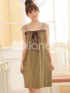 Sage Lace Bow Cotton Maternity Dress - This looks pretty easy to make... would make some cute nightgown!!