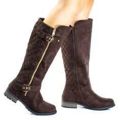#Mango23 Brown Calf High Biker Boots, Quilted Panel, Stack Heel & Threaded Lug Sole