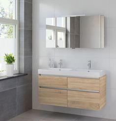 Bruynzeel Pinto meubelset 120cm dubbele wastafel spiegelkast led bardolino - 223071k - Sanitairwinkel.nl