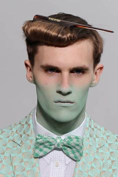 Idea for character transforming, maybe cartoon chemist accidentally drank something and they're turning that color. Walter Van Beirendonck spring/summer 2012