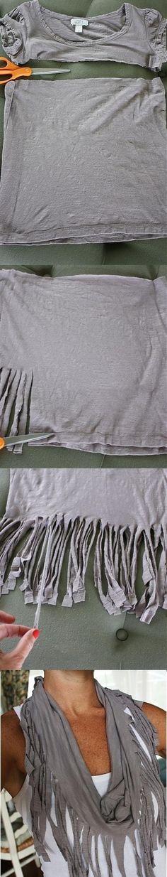 Eski T-shirt'ten şal yapılabilir...