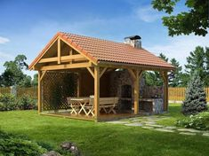 22 Beautiful Wooden Garden Designs to Personalize Backyard Landscaping Backyard Pavilion, Backyard Retreat, Backyard Landscaping, Gazebo, Diy Pergola, Pergola Kits, Pergola Ideas, Outdoor Rooms, Outdoor Living