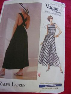 DESIGNER RALPH LAUREN    VOGUE#1367  WOMEN SZ  6 SUN DRESS  SEWING PATTERN  #VOGUE Sundress Pattern, Shirt Dress Pattern, Blouse Vintage, Vintage Dresses, Haute Couture Designers, Sun Dresses, Vogue Sewing Patterns, Dress Sewing, Envelope