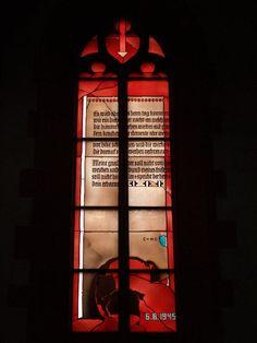 Description: Heidelberg, Germany: Heiliggeistkirche: Physikfenster (Physics window) (1984, artist Johannes Schreiter)