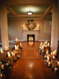 Pillar candles set atop wood stumps make for an intimate wedding ceremony. #countrywedding http://www.gactv.com/gac/photos/article/0,3524,GAC_42725_6075192_01,00.html?soc=pinterest