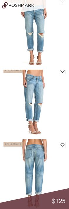 NWT Rag & Bone Moss with Holes Boyfriend Jeans 29 NWT fantastic pair of Rag & Bone boyfriend jeans in wash Moss With Holes. Slight whisking along felt pockets, distressed throughout. Waist flat is 17.5 in. Rise is 10.5 in and inseam is 27 in. rag & bone Pants