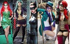 Female Villains of Batman Female Group Costume for Halloween / Poison Ivy, Joker, Cat Woman (Selena Kyle), Riddler, Harley Quinn