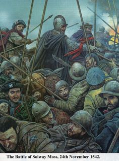 The battle of Solway Moss 1542 by the late Ric Scollins. Ric can be seen in the bottom right looking upwards. This was the last cover he did for Military Modelling Magazine before his untimely death. LARGE image.