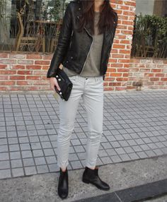 white jeans, boots & leather