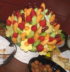 strawberry center pieces ideas for wedding | seasonal raw fruit basket centerpiece corporate centerpiece
