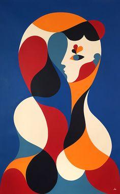 https://flic.kr/p/BATigQ   FEMME BLEUE (Aile)   Acrylic on canvas. 155x101cm. 2015