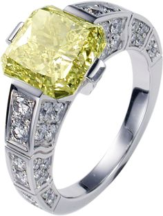 Engagement ring G34L2600 in white gold with brilliant-cut diamonds and one cushion-cut yellow diamond in an artdeco style.