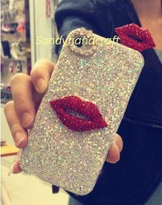 cute iPhone 4 case, iPhone4s bling case, iPhone 5 case, iPhone 5 covers, red lips swarovski crystals unique iPhone cases, bling iPod 5 case on Etsy, $20.89