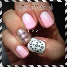 Pink and white, cute with Gelish