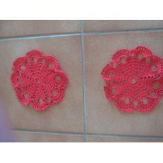 Lot Napperon Crochet Fait Main - Réf 0731 - Rouge - Diamètre 13 - 3.00 Euros