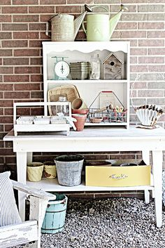 Inspiration. Could I take a vintage drop leaf table and add a shelf below?  Use the shelf and underneath the shelf for storage.