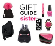 """""""Gift Guide: Sister"""" by black-on-white ❤ liked on Polyvore featuring OPI, Tangle Teezer, Bobbl, Kim Rogers, giftguide, Pink and black"""
