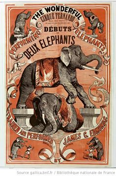Performing the wonderful elephants trained and performed by James C. Old Circus, Circus Art, Night Circus, Circus Theme, Cirque Vintage, Art Vintage, Vintage Images, Vintage Carnival, Vintage Circus Posters