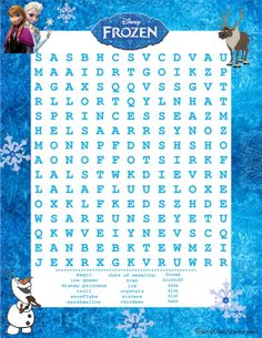 Disney Frozen Word Search Game Birthday Party by TahDahStudio, $3.00