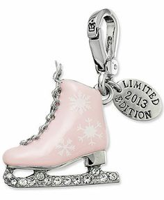 Juicy Couture Silver-Tone Crystal Accent Pink Ice Skate Charm